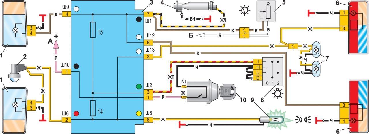 Схемы ВАЗ 2107.  Схема 1. Схема включения наружного освещения: 1 - блок–фары с лампами габаритного света; 2...
