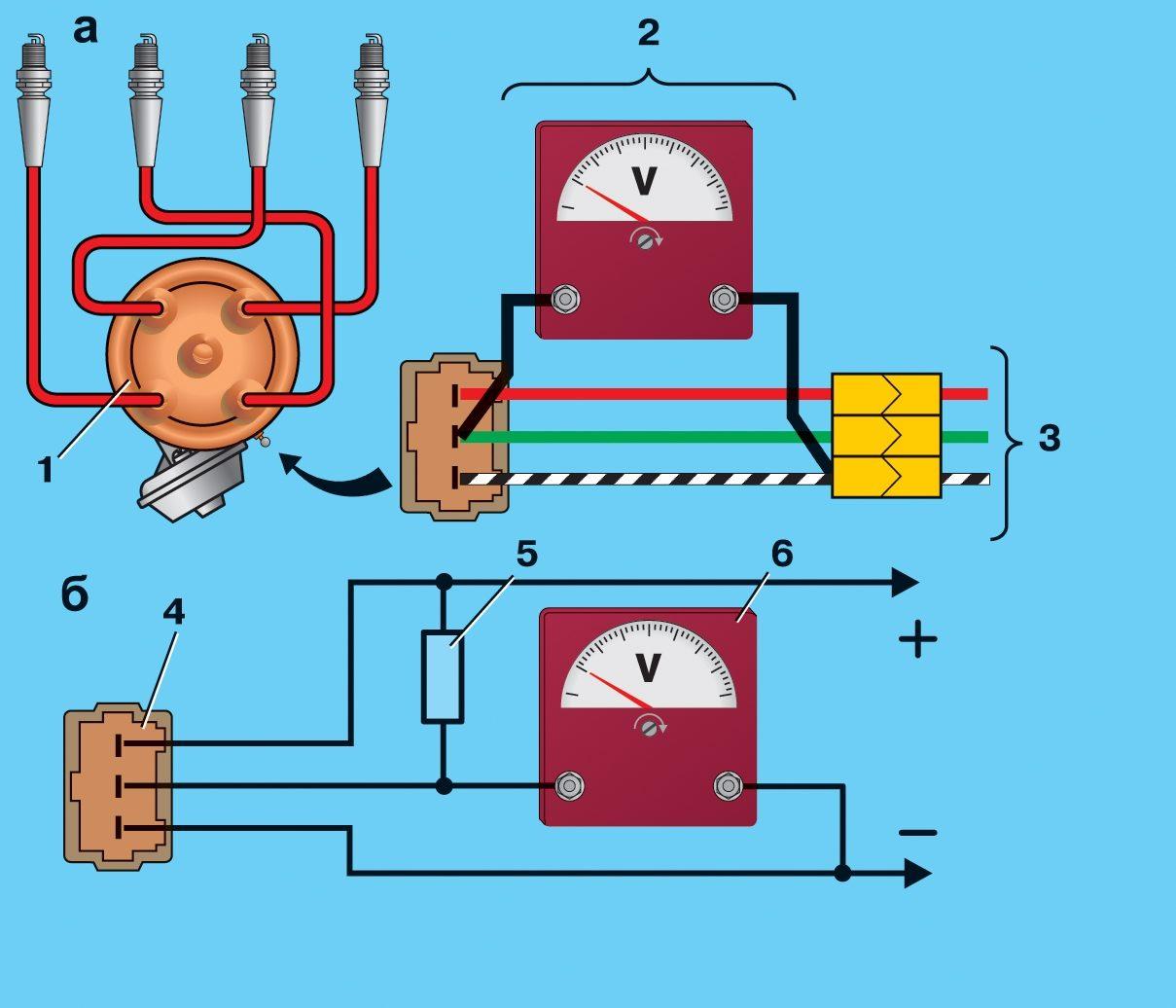 Схемы для проверки бесконтактного датчика на автомобиле (а) и на снятом датчике–распределителе зажигания (б): 1...