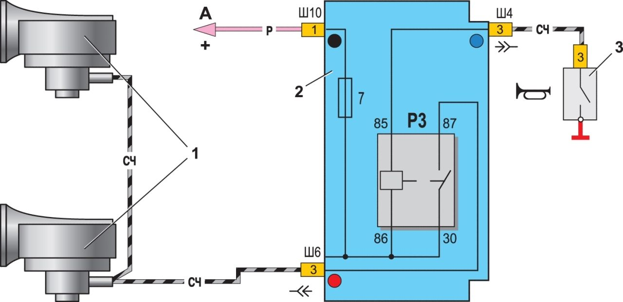 Схема включения звукового сигнала на автомобилях ваз 21099.
