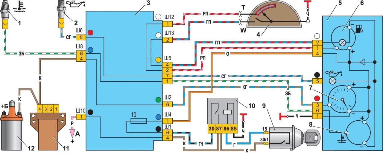 Схема включения контрольных приборов: 1 - датчик контрольной лампы давления масла; 2 - датчик указателя температуры...