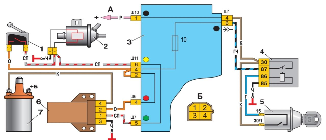 -45. Схема системы управления пневмоклапаном карбюратора.