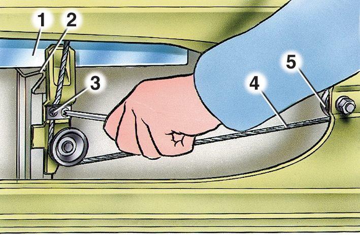 У передних дверей снимите обивку, опустите стекло до упора в резиновый буфер и выверните винты 3. прижимных пластин...
