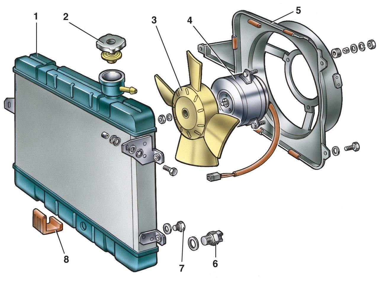 Расположение датчика включения вентилятора 3