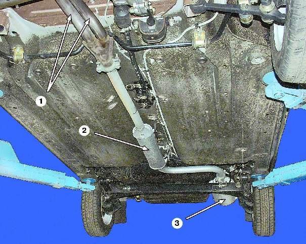 27 ВАЗ 2109-08 выхлопная система устройство 3 Конфигурация выпуска отработавших газов 1 - комната труба глушителя 2...