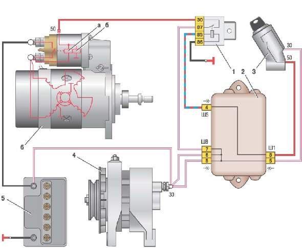 Схема проводов стартера ваз 2109