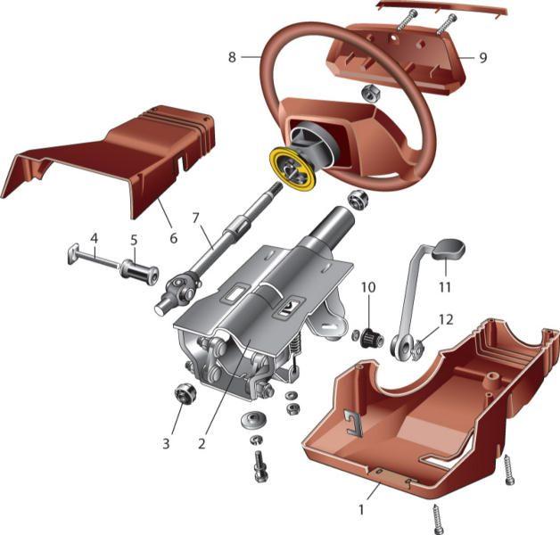 Рулевой механизм в сборе с приводом 1,12 - внутренние наконечники рулевых тяг; 2 - скоба крепления рулевого механизма...