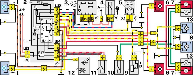 Если я правильно себе представил...  Судя по схеме от лягушки (поз.11 на картинке) ток идет на реле К1...