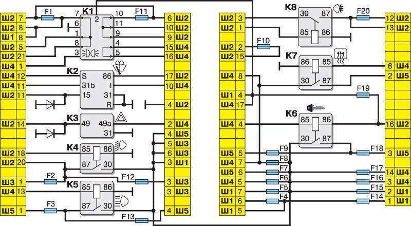 ...соединений. схема электрических соединений жгута проводов заднего.