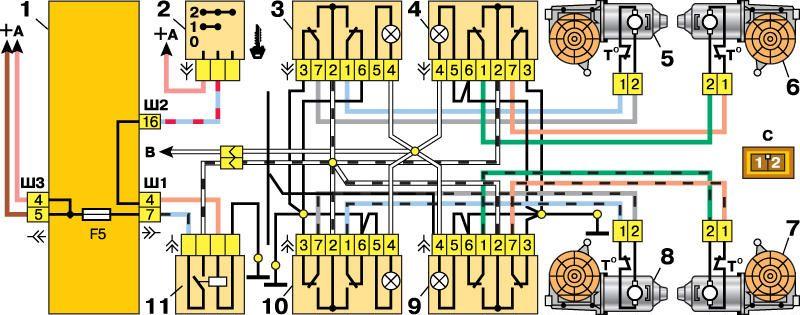 Напряжение к переключателям подается только при включенном зажигании через реле типа 904.3747-10, расположенное сзади...