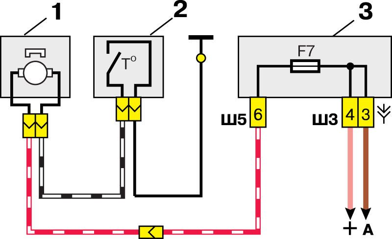 Схема включения электродвигателя системы охлаждения двигателя ВАЗ-2110 1-электродвигатель вентилятора; 2...