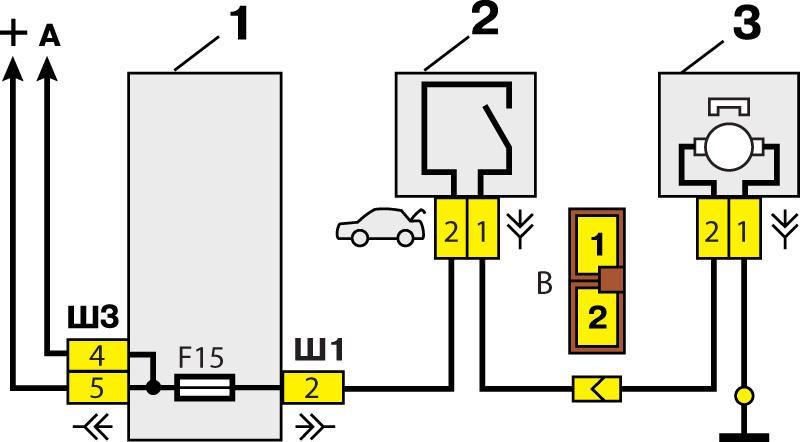 Схема включения замка багажника.  При нажатии на выключатель, расположенный слева на панели...
