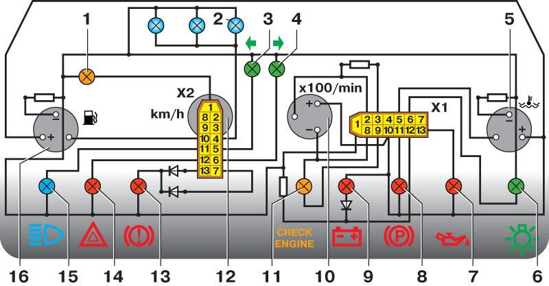 Электрические схемы ваз схемы комбинаций приборов и схема электрических соединений щитка приборов 21054 назначение...