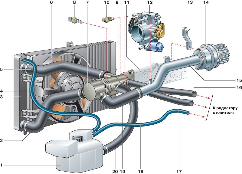 Система охлаждения двигателя ланос 1.5 схема фото 444