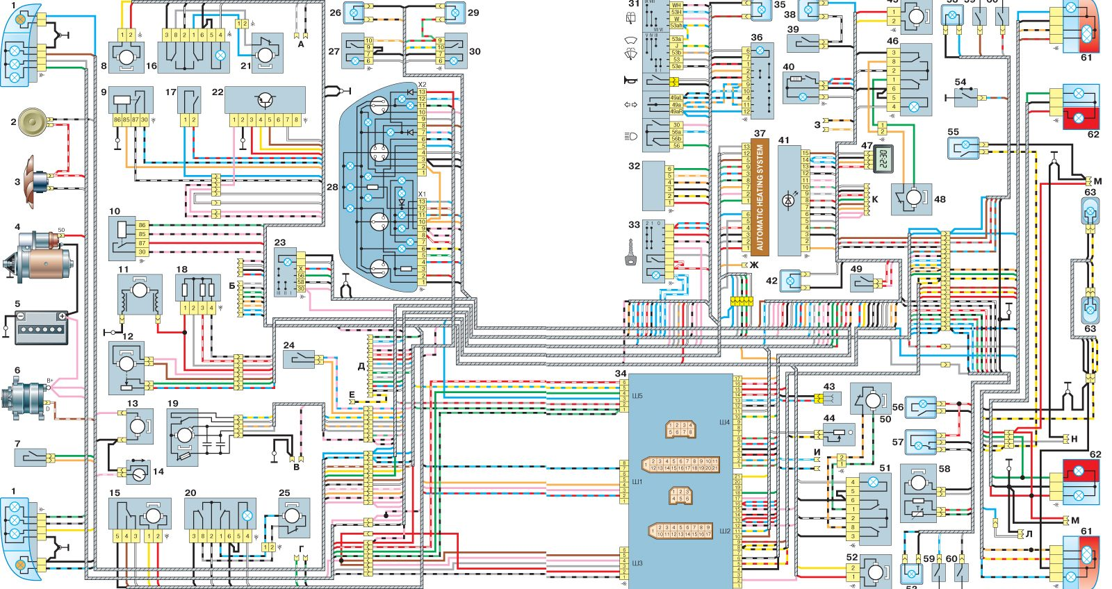 """Схема электрооборудования автомобиля с кузовом  """"седан """" (кроме узлов и деталей системы впрыска) ."""