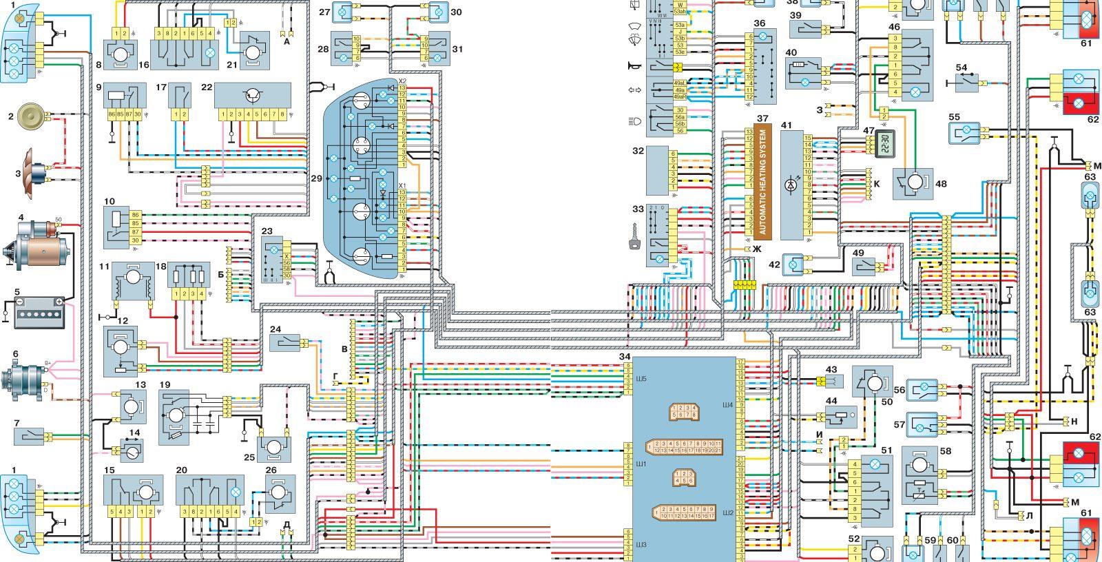 Ваз 21102 21112 21122 электрическая схема