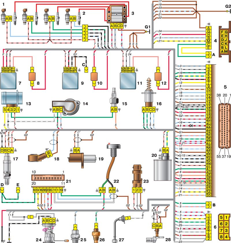 7. главное реле.  6. колодка, присоединенная к жгуту проводов панели приборов.  3. модуль зажигания.