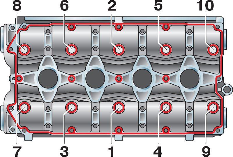 схема затяжки клапанной крышки.