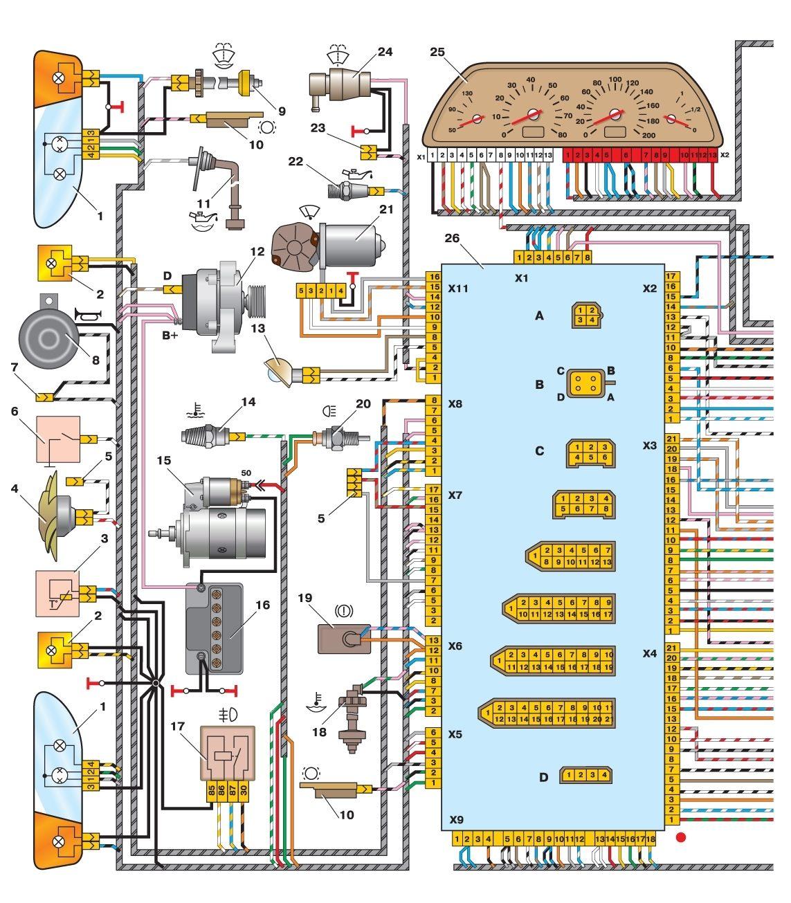 Схема монтажного блока Ваз 2114, Ваз 2115, Ваз 2113, Лада Самара 2 Реле и предохранители.