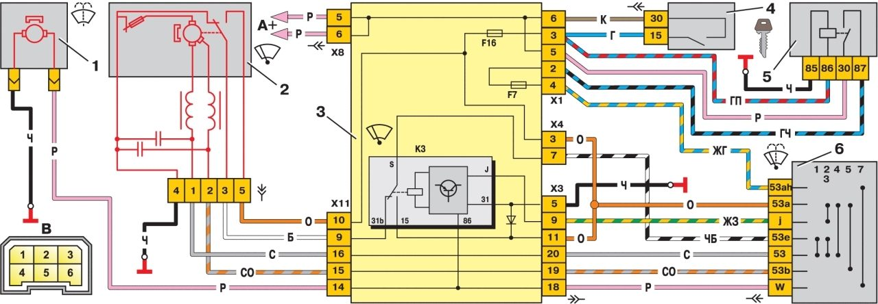 Схема включения очистителя и омывателя ветрового стекла: 1 - электродвигатель омывателя ветрового стекла; 2...