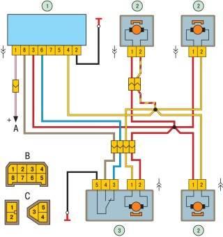 Схема системы блокировки замков дверей