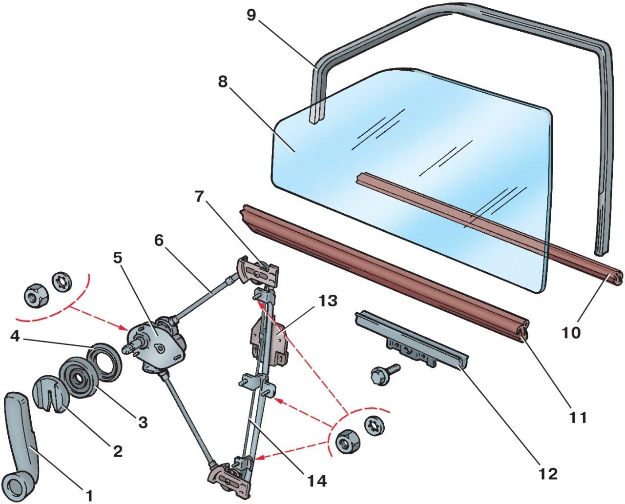 Стеклоподъемник передней двери: 1 - ручка стеклоподъемника; 2 - облицовка; 3 - розетка; 4 - прокладка; 5...