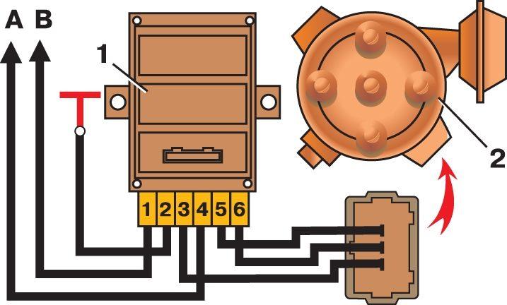 """Установите датчик-распределитель зажигания на стенд, соедините его выводы с выводами  """"3 """",  """"5 """" и  """"6 """" коммутатора 1."""