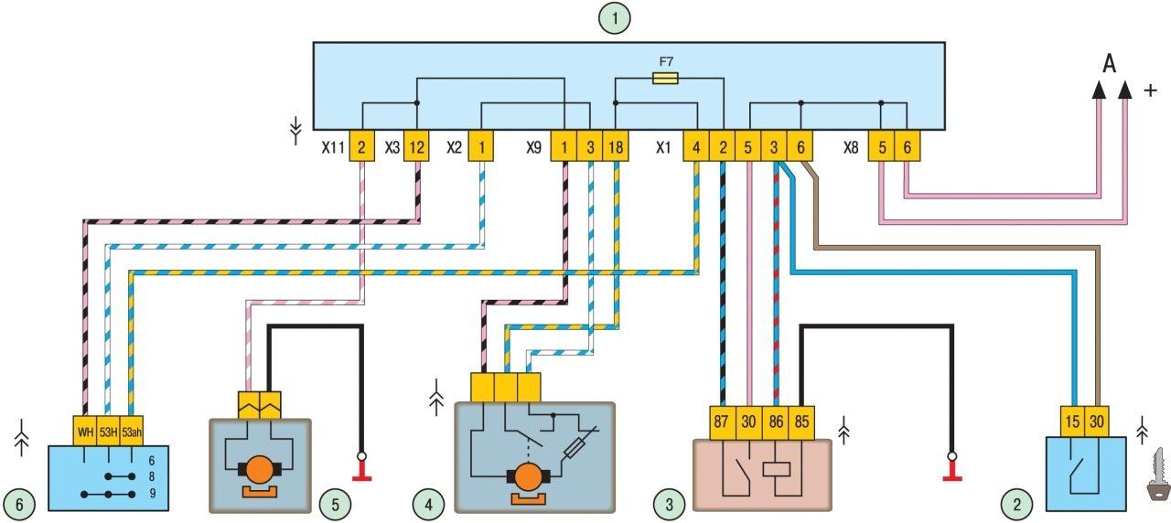 Схема включения очистителя и омывателя заднего стекла: 1 - монтажный блок; 2 - выключатель зажигания; 3...