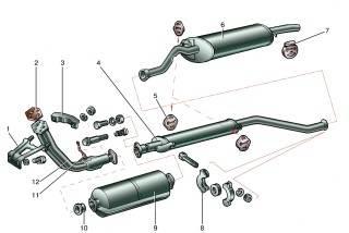 Система выпуска отработавших газов: 1 - кронштейн крепления приемной трубы; 2 - прокладка; 3 - прижим кронштейна; 4...