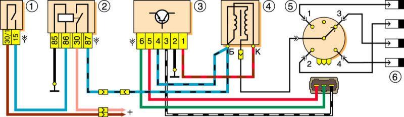 1 – выключатель зажигания;