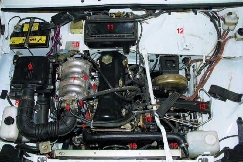 9 -корпус воздушного фильтра; 10 - датчик концентрации кислорода (расположен на приемной трубе - на фото не виден)...