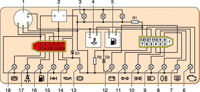 Электрическая схема ВАЗ-2121.  Прислал RAN .  12 - датчик контрольной...
