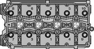 Порядок затяжки болтов крепления головки цилиндров и схема нанесения герметика на корпус подшипников...