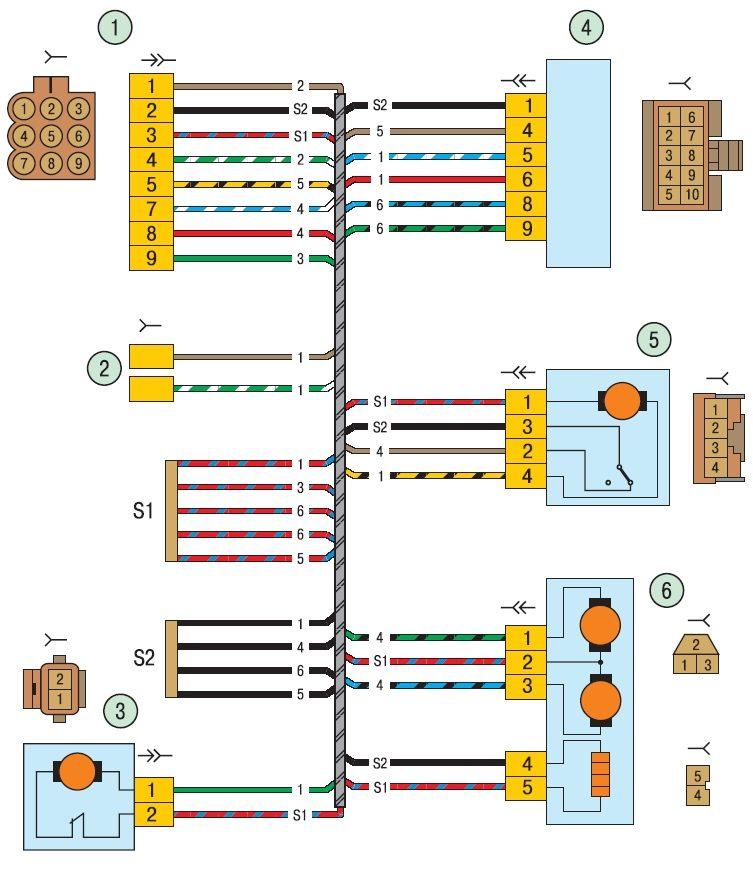Электрические соединения жгута проводов левой передней двери на автомобиле ВАЗ 2170 Лада Приора (Lada Priora) .
