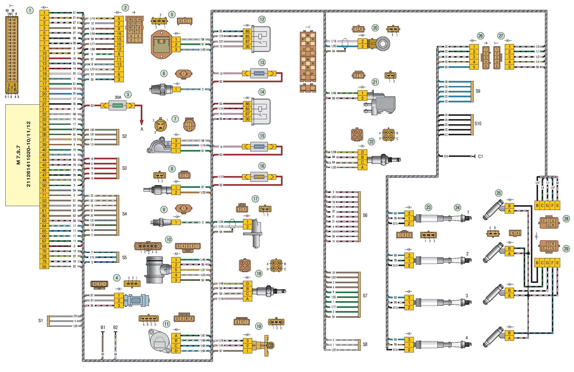 ...(ЭСУД) автомобиль Лада Приора ВАЗ 2170: 1 - ЭБУ; 2 - разъем жгута ЭСУД к жгуту панели приборов; 3 - основной блок...