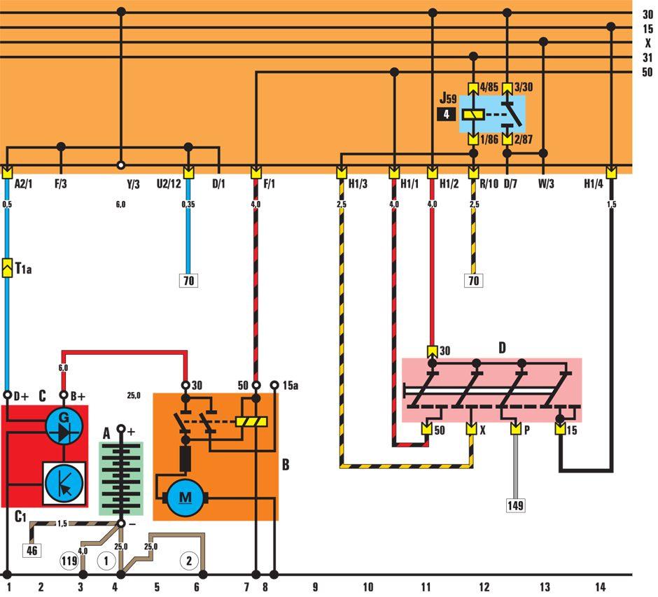 Vw golf ii jetta ii таблица 5 обозначение значение сигнал поворота генератор схема vw jetta генератор схема.