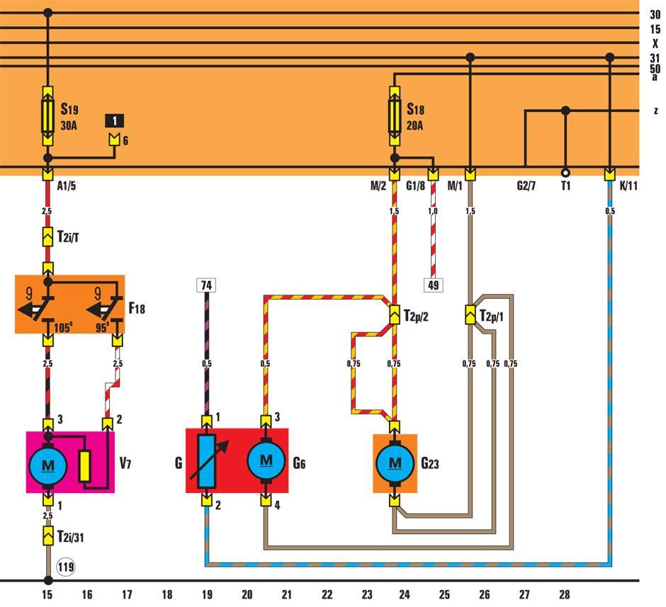 G6 - электрический топливный насос; G23 - топливный насос; V7 - вентилятор радиатора.  12.14.6. Система преднакала...