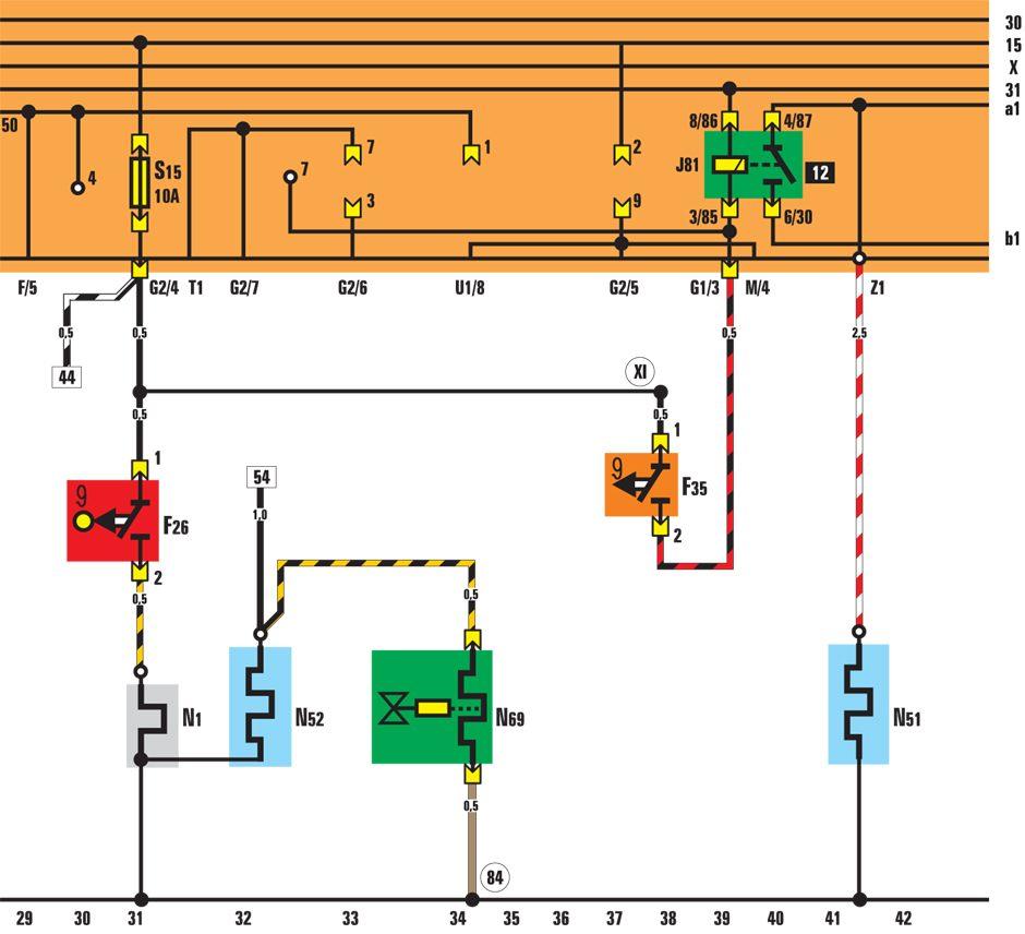 Фольксваген Гольф 2, Джетта. Система преднакала, клапан отключения подачи топлива. Volkswagen ...