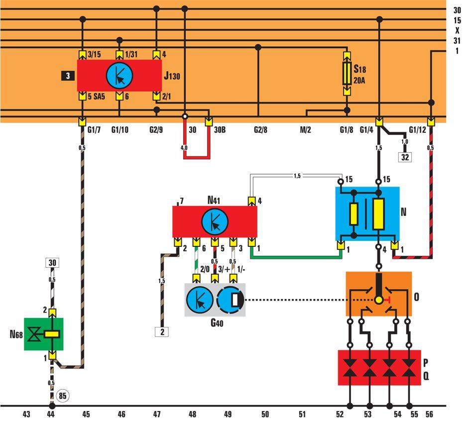 G40 - датчик Холла; N - катушка зажигания; N41 - блок управления; О - распределитель зажигания; Р - разъем свечей...