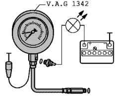Схема подключения манометра.  Вкрутите масляный манометр в держатель масляного фильтра вместо датчика (рис.
