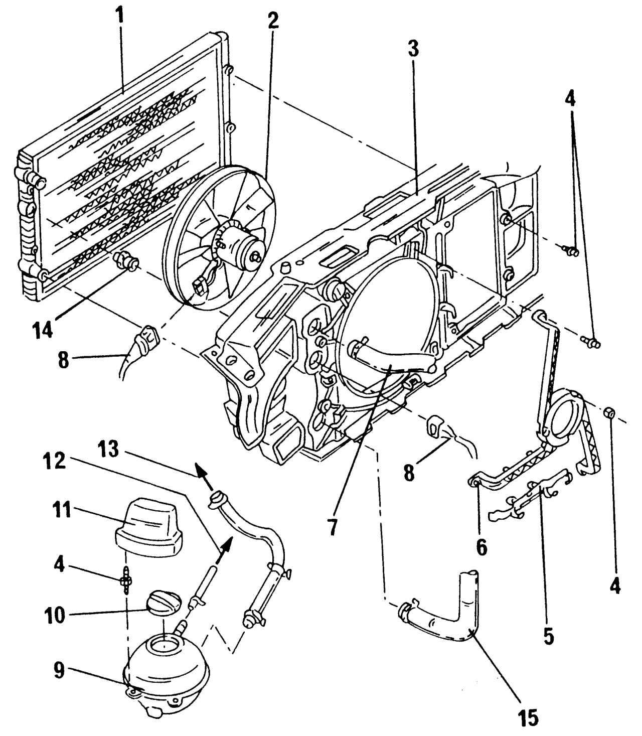 Крепление радиатора: 1 - радиатор; 2 - вентилятор; 3 - держатель замка капота; 4 - болты, 10 Н·м; 5 - крепление...