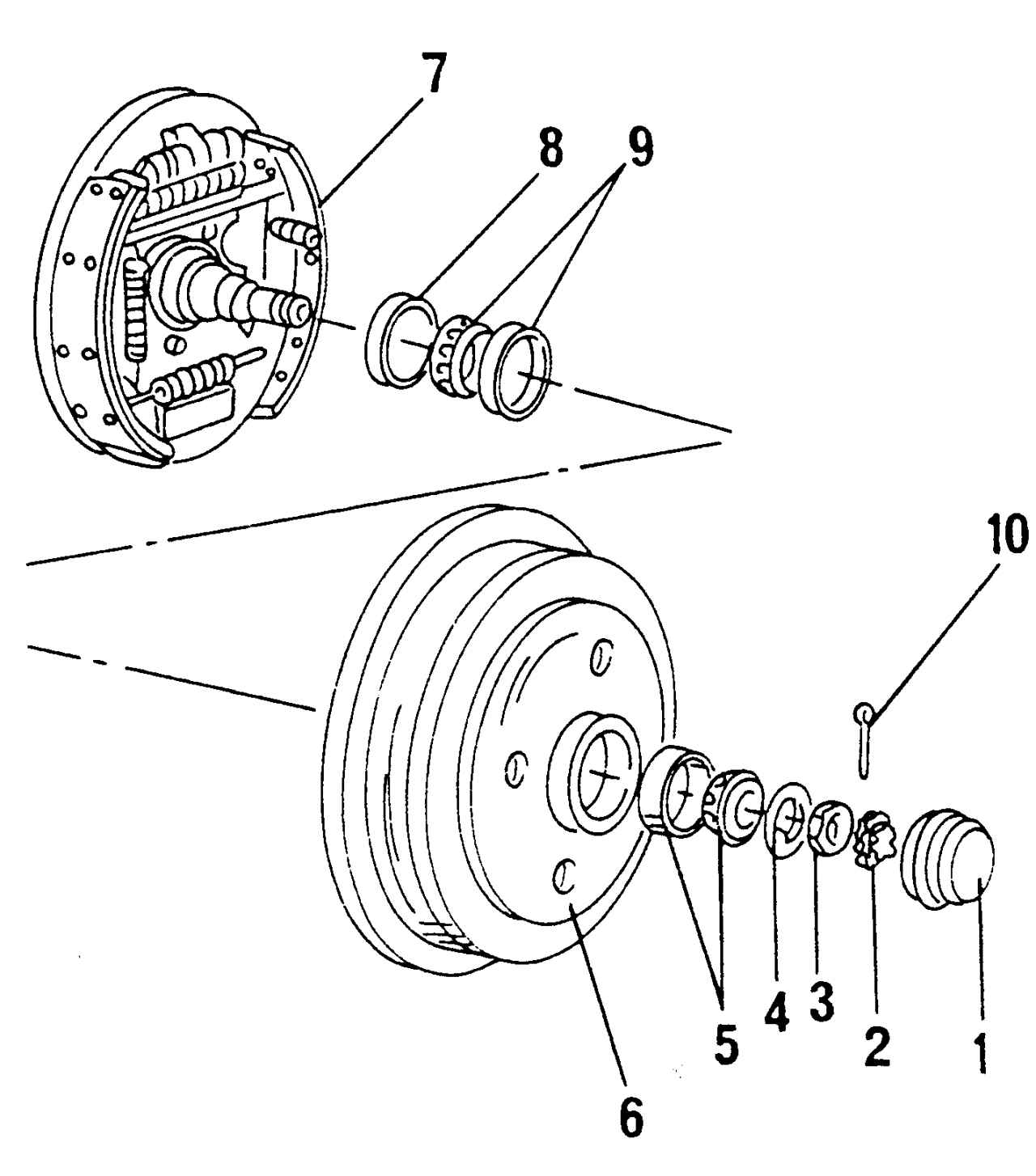 Детали ступицы колеса: 1 - крышка ступицы; 2 - стопор гайки; 3 - шестигранная гайка; 4 - регулировочная шайба; 5...