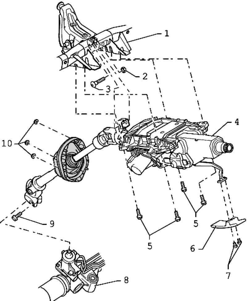 Компоненты рулевой колонки: 1